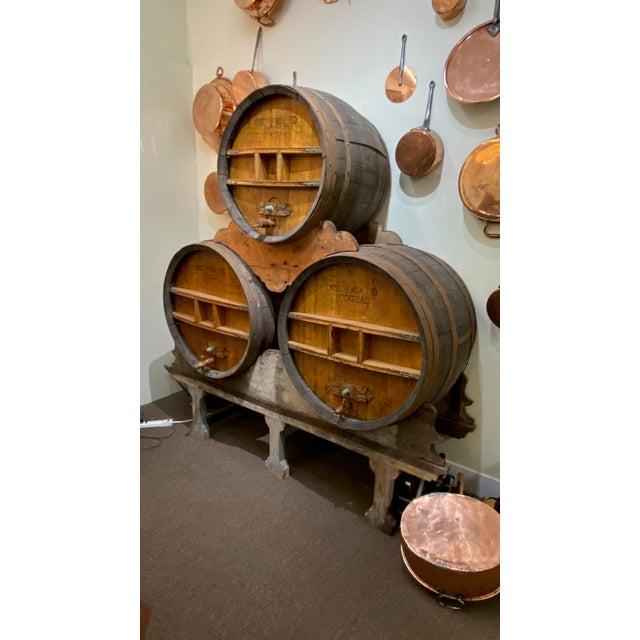 Brown Continental Cognac Barrels - 5 Piece Set For Sale - Image 8 of 9