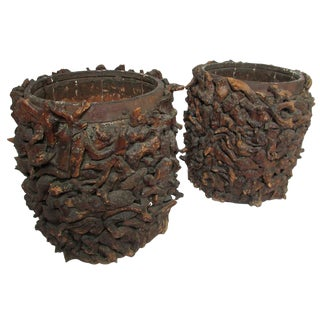Pair of Early 20th Century American Adirondack Root Planters
