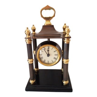 Vintage Bombay Brass and Mahogany Mantle Clock India For Sale
