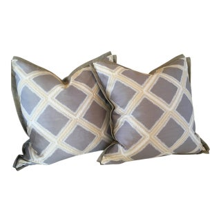 Grey & Yellow Lattice Print Pillow Covers - A Pair For Sale