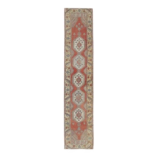 Sub-Geometric Tribal Vintage Oushak Runner From Early 20th Century Turkey For Sale