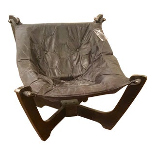 Contemporary Regina Andrews Black Leather Sling Chair