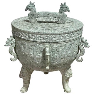 James Mont Style Verdigris Asian Style Ice Bucket For Sale