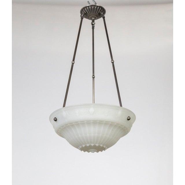 1920s Neoclassical Cast Milk Glass Rosette Pendant For Sale - Image 10 of 10