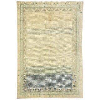 20th Century Rustic French Turkish Oushak Rug - 3′9″ × 5′6″ For Sale