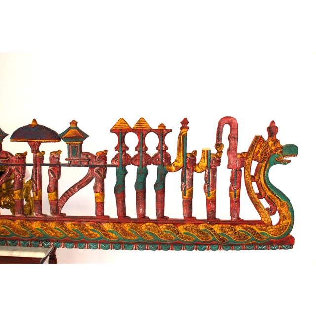 Antique Asian Carved Polychrome Serpent Panel For Sale - Image 4 of 6