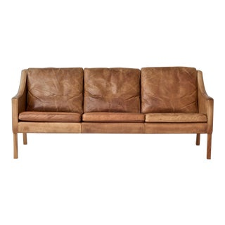 Original Borge Mogensen 2209 Sofa in Patinated Tan Leather, Denmark, 1960s-1970s For Sale