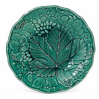 Antique Majolica Grape Leaf Plate For Sale