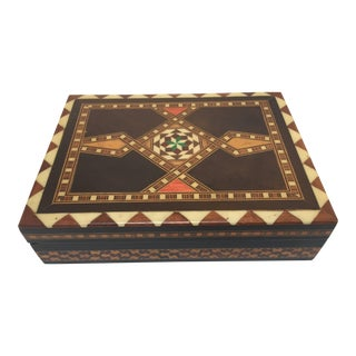 Middle Eastern Moorish Inlaid Marquetry Mosaic Box For Sale