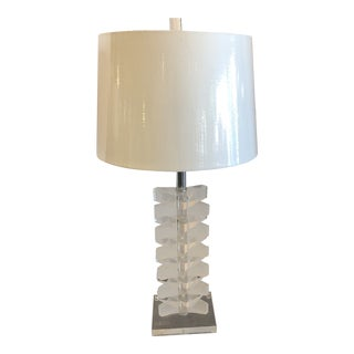 1980s Contemporary Bauer Lucite Stacked Rounded Triangle Lamp For Sale