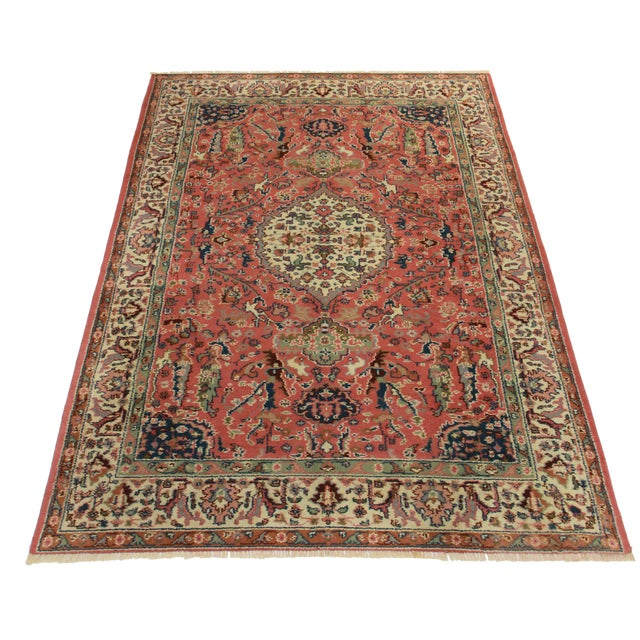 "RugsinDallas Vintage Hand Knotted Wool Turkish Rug - 5'8"" X 8'6"" - Image 2 of 2"