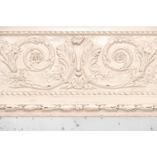 Art Nouveau French Antique White Trumeau Mirror For Sale - Image 3 of 10
