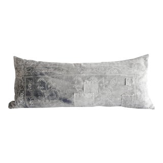 Antique Faded Gray and White Batik Lumbar Patchwork Pillow For Sale