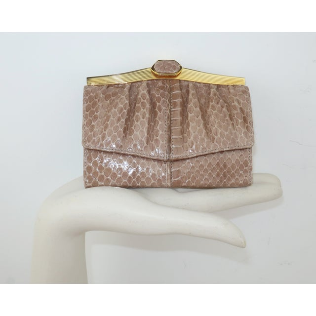 Judith Leiber Taupe Snakeskin Wallet For Sale - Image 12 of 13