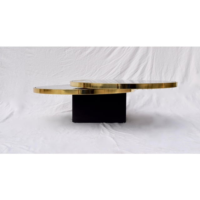 Swivel Brass & Black Glass Cocktail Table by Design Institute of America For Sale - Image 11 of 13
