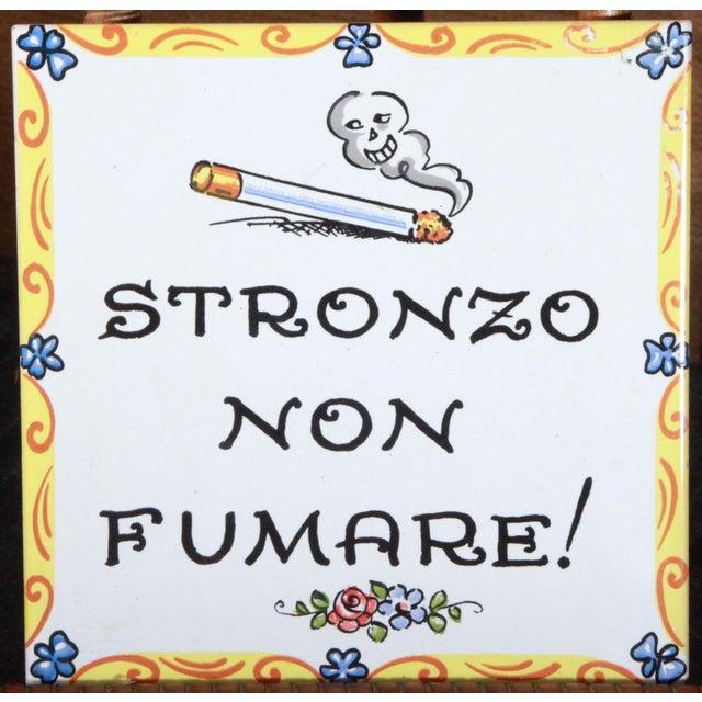Vintage Italian 'No Smoking' Hand Painted Art Tile - Image 1 of 4