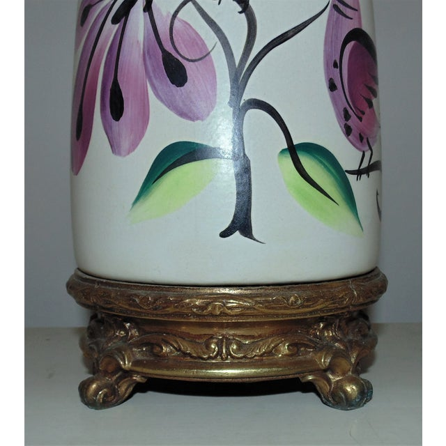 Ceramic Table Lamps Vintage Marc Bellaire Mid-Century Modern Vase Form W/ Birds - a Pair For Sale - Image 7 of 8