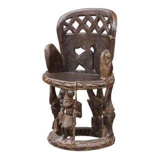Impressive Yoruba Carved Chair For Sale