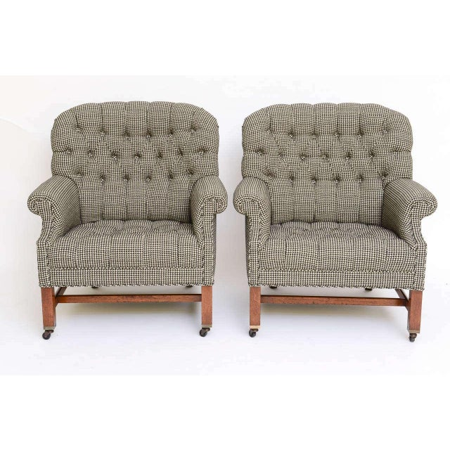 Beefy Edwardian Style Button Tufted Club Chairs in Houndstooth - Image 10 of 11