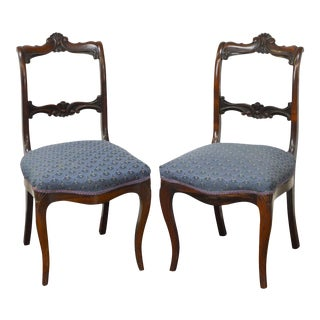 Antique 19th Century Rococo Revival Rosewood Side Chairs - A Pair For Sale