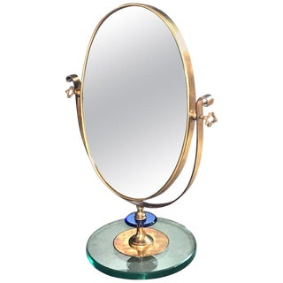 1960s Neoclassical Italian Midcentury Brass Italy Table Vanity Mirror For Sale