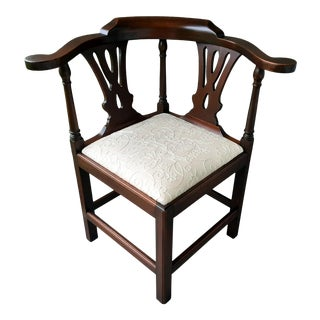 The Bartley Collection Furniture Solid Mahogany Corner Chair Embroidered Linen Upholstered Seat For Sale