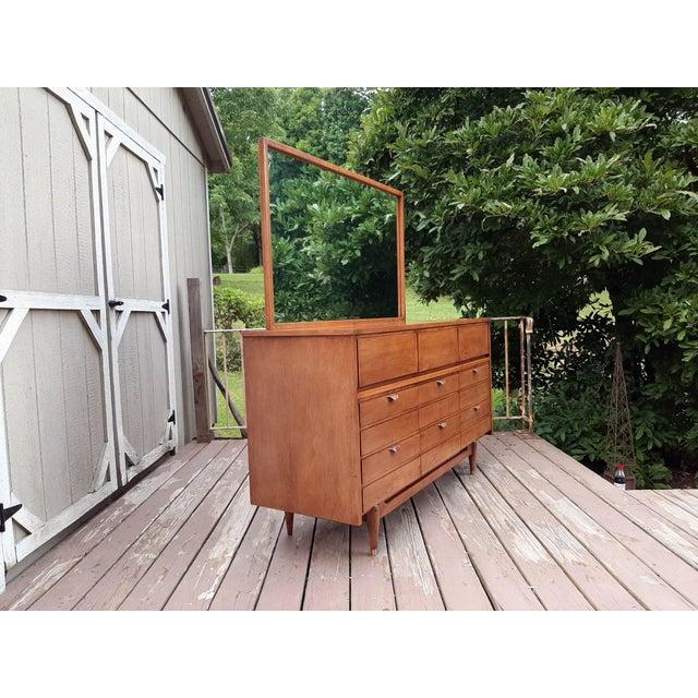 Mid-Century Modern Mid Century Modern Hooker Mainline 9 Drawer Walnut Dresser With Mirror For Sale - Image 3 of 13