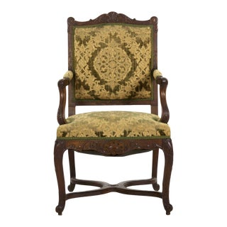 19th Century Antique French Rococo Revival Upholstered Arm Chair For Sale