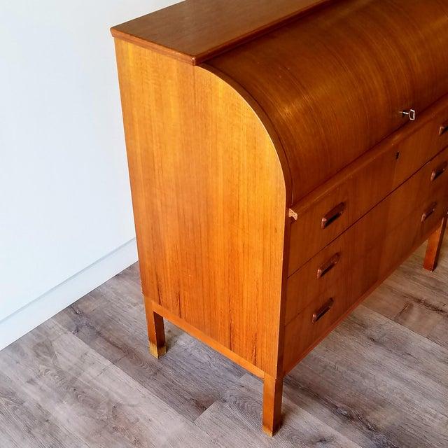 1960s Egon Ostergaard Teak Roll-Top Writing Desk For Sale - Image 10 of 13