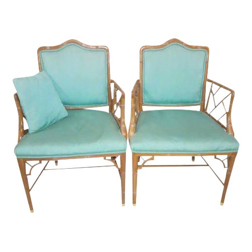 Chinese Chippendale Regency Faux Bamboo Turquoise Chairs - A Pair - Image 1 of 6