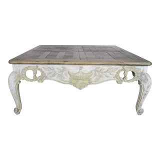 French Provintial Style Painted Coffee Table With Parque Top For Sale