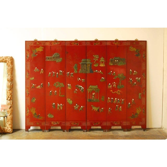 Chinese Hard-Stone & Red Lacquer Screen - Image 2 of 10
