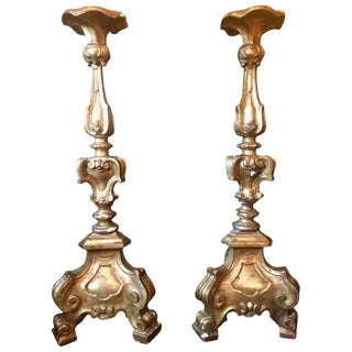 Antique Italian Louis XVI Style Carved Giltwood Torcheres Candle Holders - a Pair For Sale