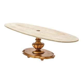 1970s Oval Gilt Pedestal Coffee Table For Sale