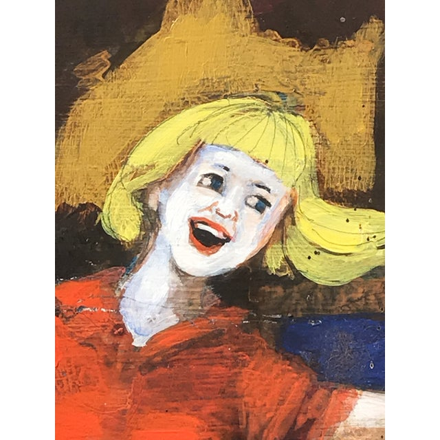 1980s Folk Art Style Figurative Unicorn Painting on Board by Ted Bredt For Sale - Image 10 of 10