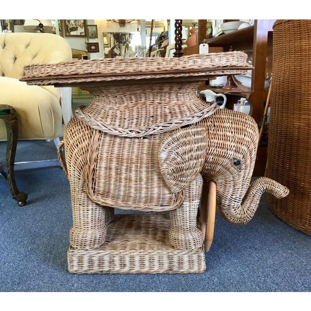 Vintage Woven Rattan Elephant Tray Table For Sale - Image 4 of 8