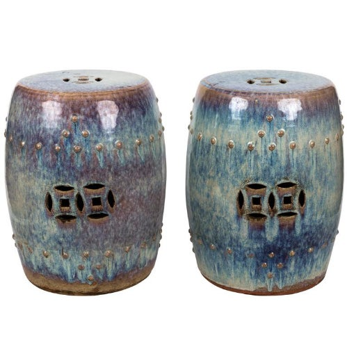 Pair of Chinese glazed light blue garden seats.