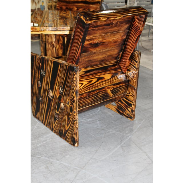 Americana Rustic Wooden Out Door Patio Dining Set - 3 Pieces For Sale - Image 3 of 8