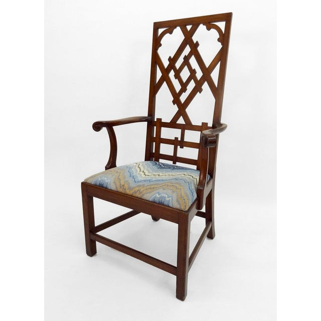 Frederick P. Victoria & Son, Inc. High-back Diamond Fret Chair For Sale - Image 4 of 7
