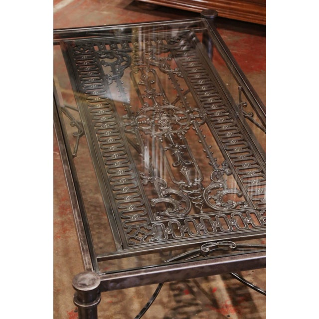 Iron Coffee Table Made With 19th Century French Gate Balcony With Glass Top For Sale - Image 10 of 13