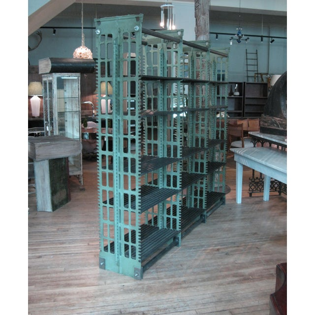 Pair of Antique Cast Iron Archival Library Bookcases by Snead For Sale - Image 9 of 10