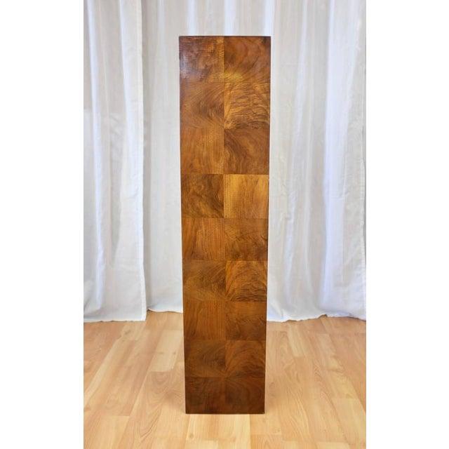 Vintage Milo Baughman-Style Architectural Walnut Pedestal For Sale - Image 4 of 10