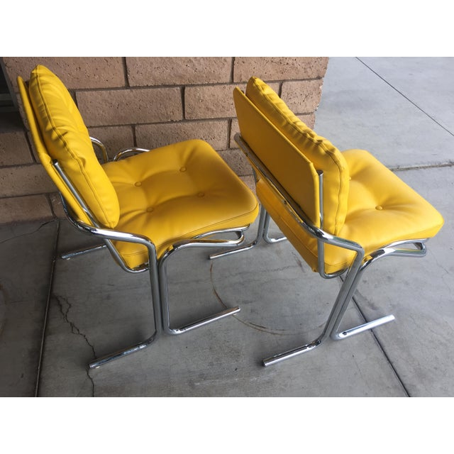 Fabulous pair of Jerry Johnson 'Arcadia' accent or dining chairs. Chairs are glossy chrome and have been newly...