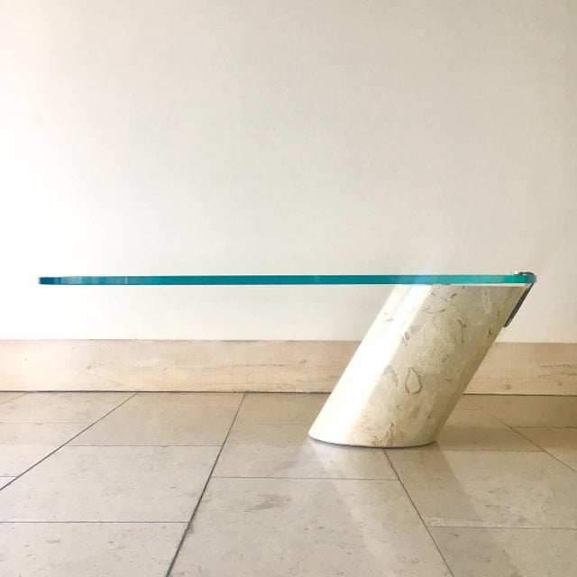 Tan Travertine and Glass Cantilevered Coffee Table 1980s For Sale - Image 8 of 8