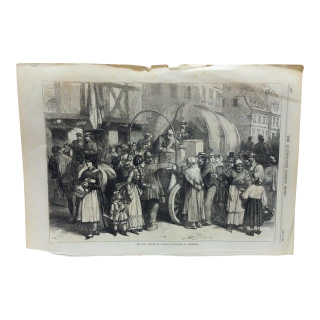 """Antique 1870s """"The War - Arrival of a Supply of Provisions at Strasbourg"""" Print For Sale"""