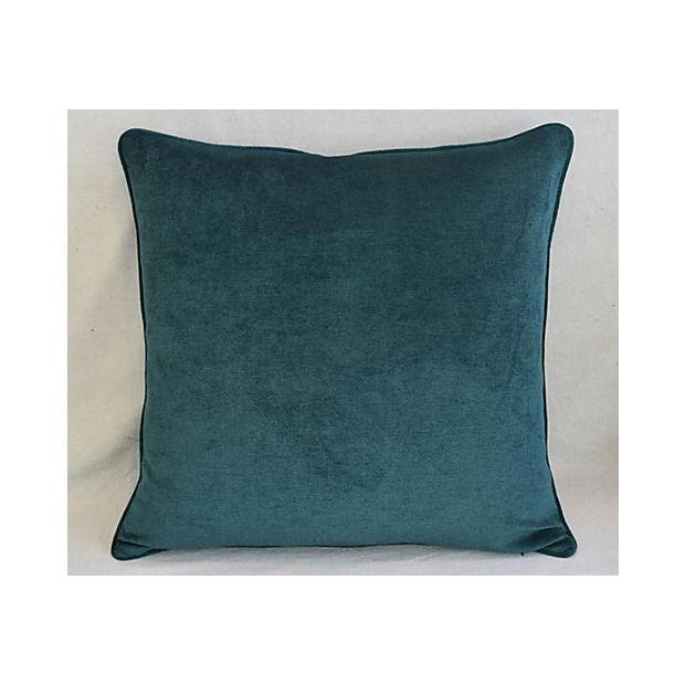 Aqua Aqua Marine Green/Turquoise Velvet Feather & Down Pillows - a Pair For Sale - Image 8 of 13
