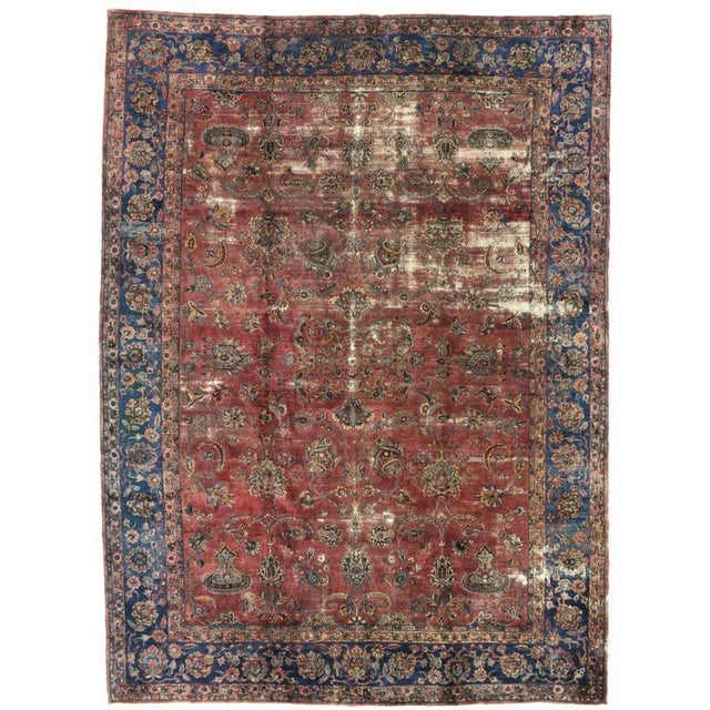 Blue Distressed Antique Persian Kerman with Modern Industrial Style For Sale - Image 8 of 8