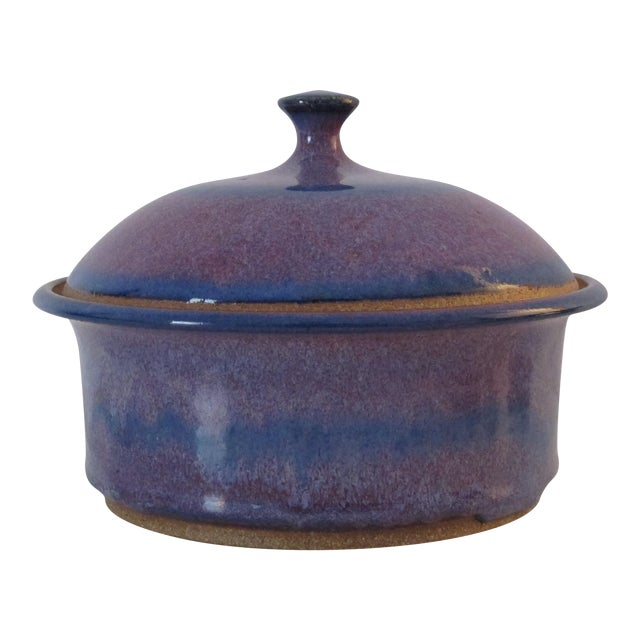 Blue & Purple Pottery Casserole Dish - Image 1 of 6