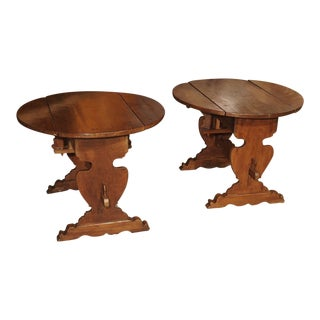 Pair of Antique Walnut Drop Leaf Side Tables From Italy, Circa 1900 For Sale