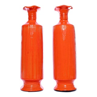 Vintage Tall Orange Fluted Vases - a Pair For Sale